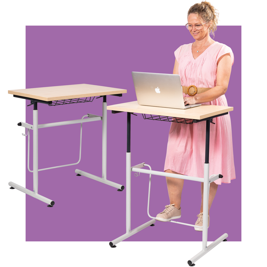 Gas Lift Sitting/Standing Desk with Swing Bar