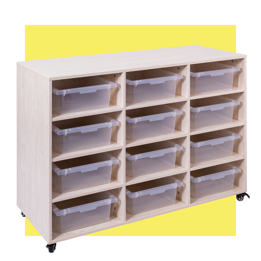MOBILE STORAGE TROLLEY 12 BAY - With 12 Trays