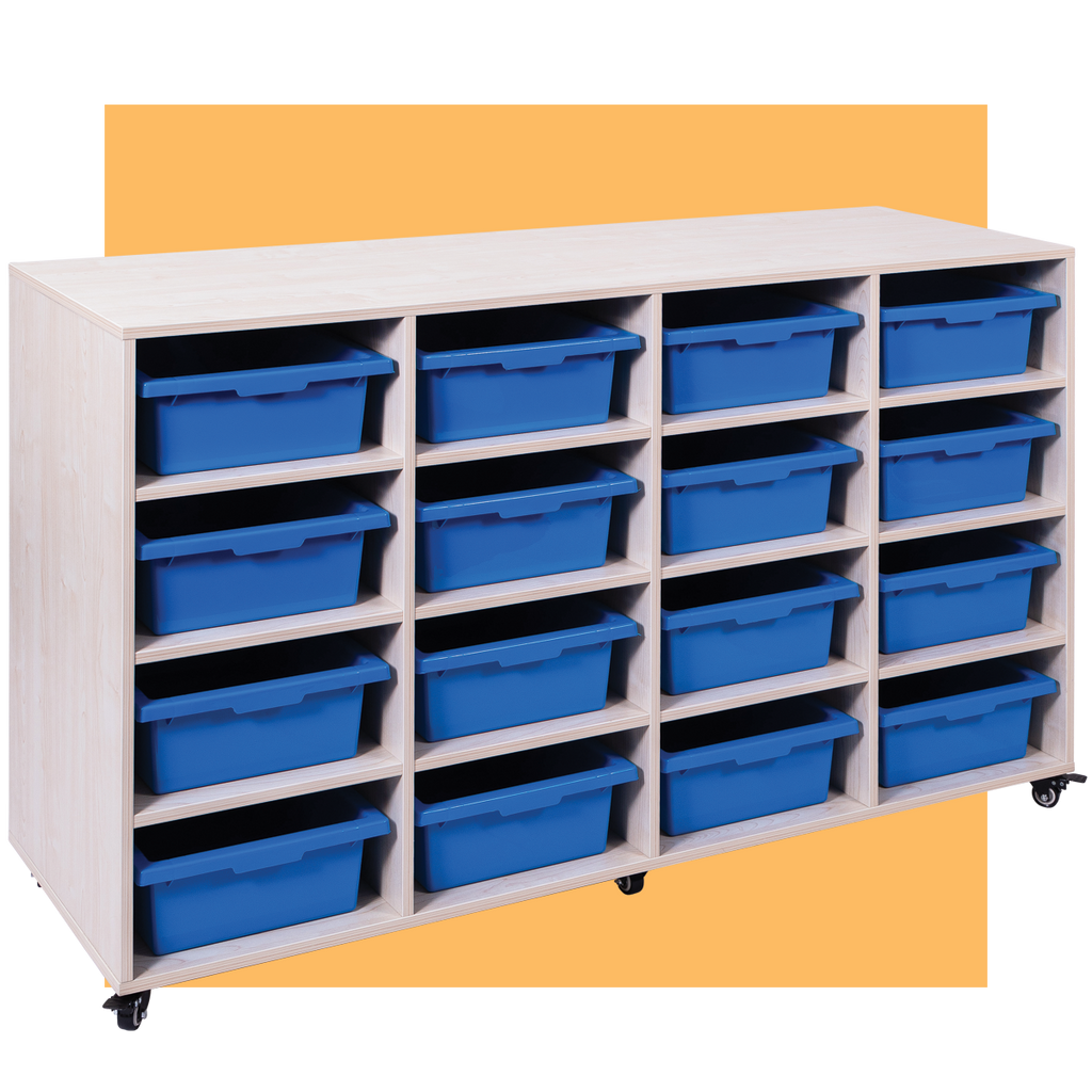MOBILE STORAGE TROLLEY 16 TRAY - With 16 Trays