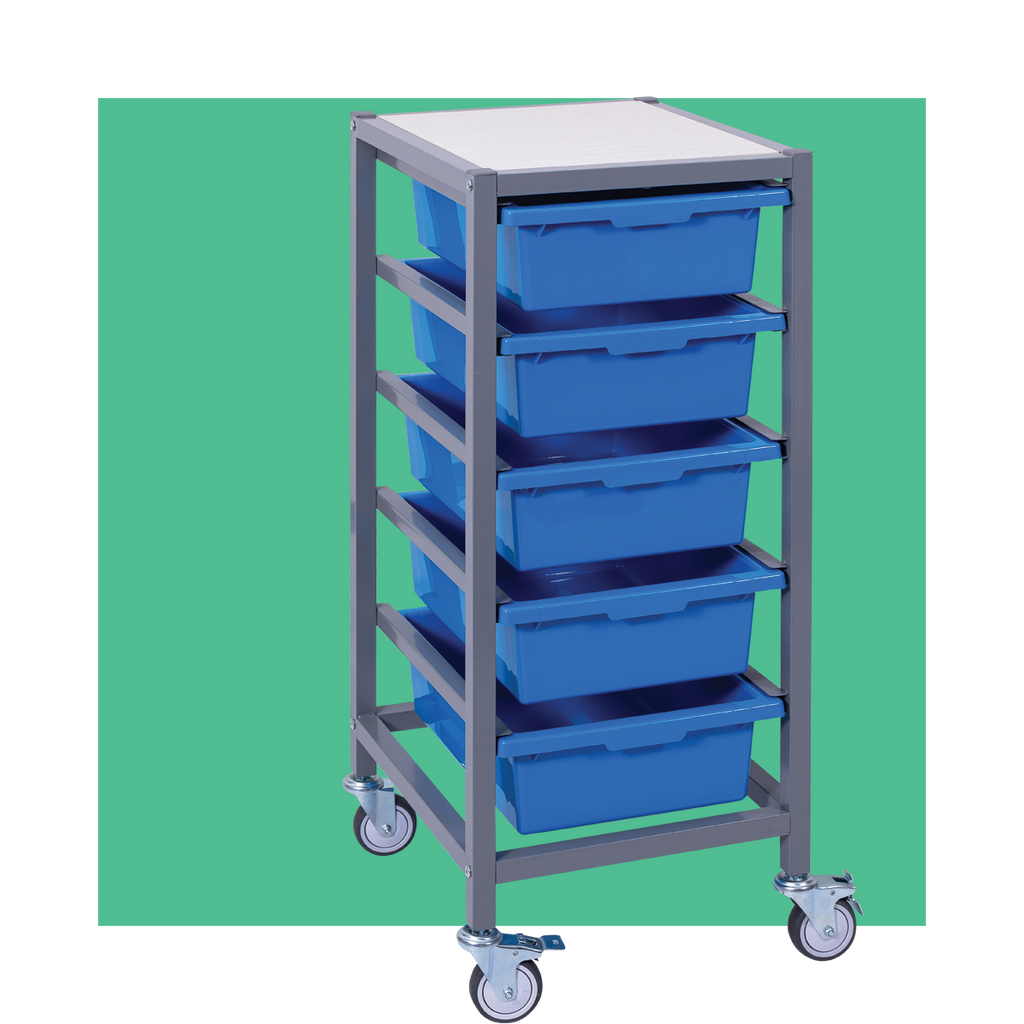 Single Tote Tray Trolley with 5 trays