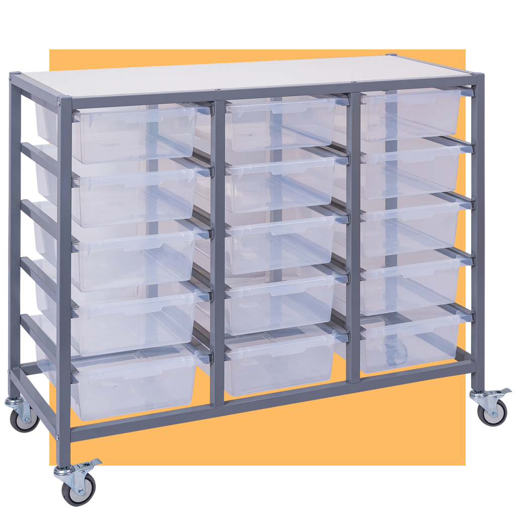 Triple Tote Tray Trolley with 15 trays
