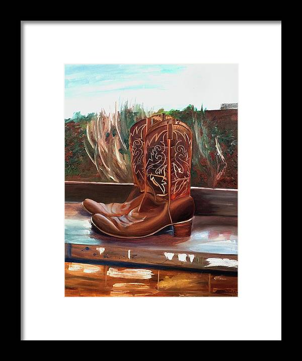 Posing boots - Framed Print