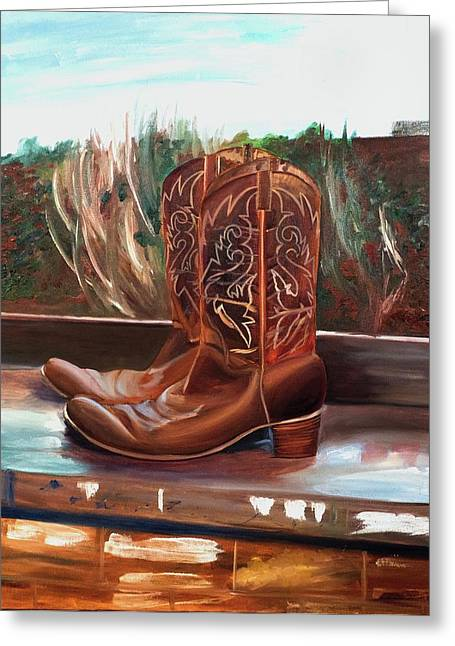Posing boots - Greeting Card