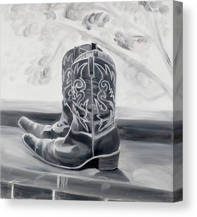 BW boots - Canvas Print