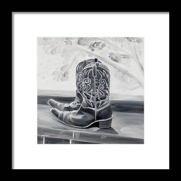 BW boots - Framed Print