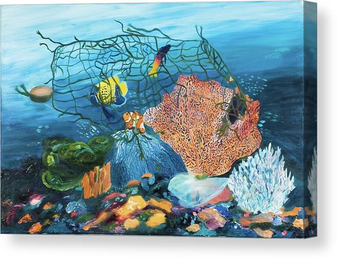 Caught in coral - Canvas Print