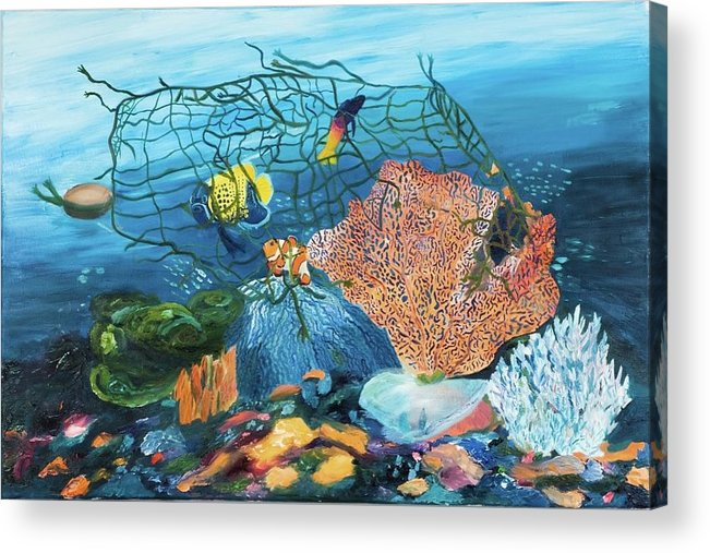Caught in coral - Acrylic Print