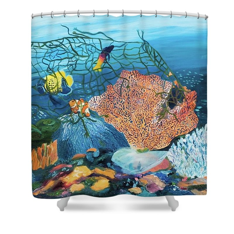Caught in coral - Shower Curtain