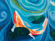 Load image into Gallery viewer, Koi pond oil painting, original painting of koi fish, psychedelic water, swirls and curls of water, lily ponds, lilly pond, art