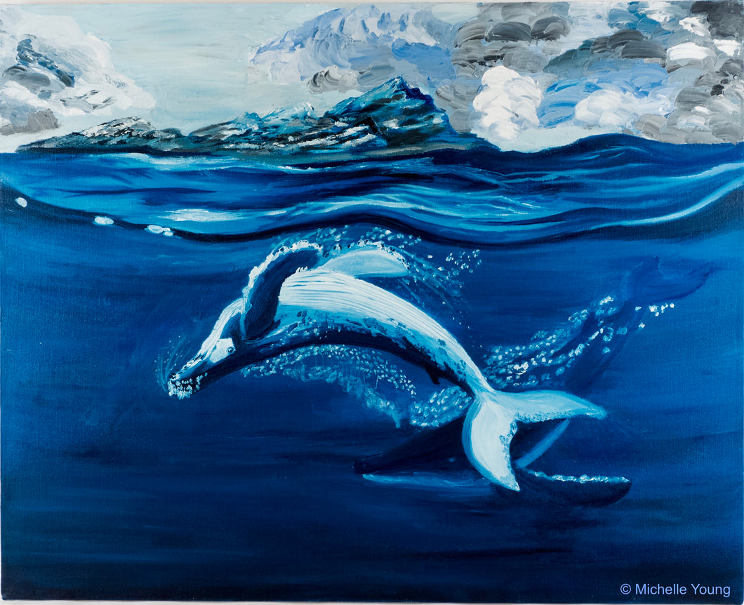 humpback whales original oil painting, dancing whales painting, ocean mammals oil painting, original graceful whale art painting for sale!!!