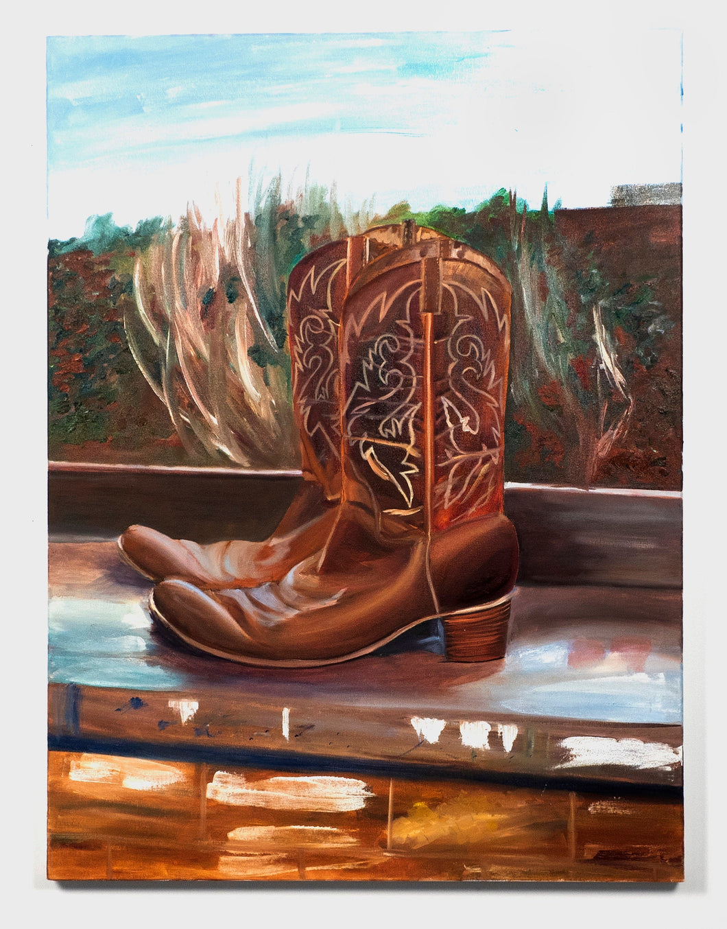 boots in color, large oil painting, boots large, large painting of boots, western wear, wester art, country, country clothes, country art,