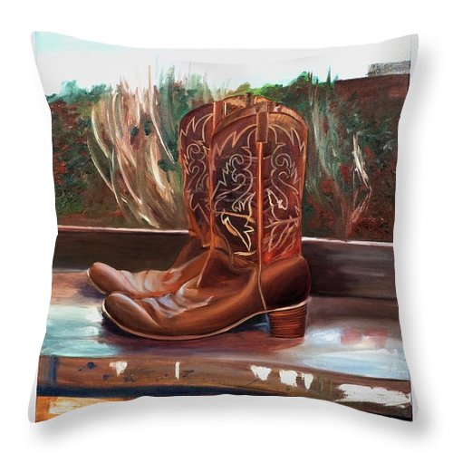 Posing boots - Throw Pillow