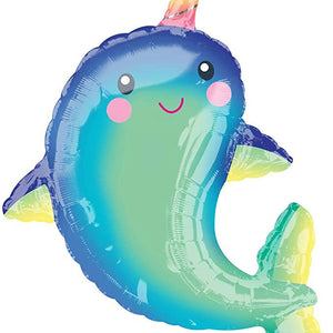 39 inch Giant Rainbow Narwhal Kids Birthday Party Balloons