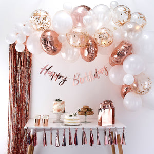 Rose Gold & White Balloon Garland Kit