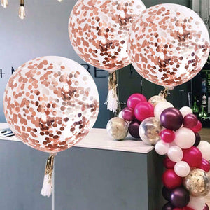 Rose Gold 3-foot Giant Metallic Bridal Shower & Birthday Balloons Confetti Balloons