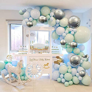 Blue, Mint & Silver Balloon Garland Kit