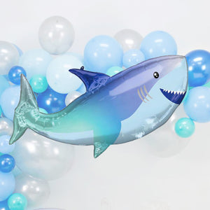 Blue 38-Inch Underwater Giant Shark Kids Birthday Party Balloons