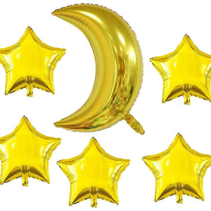 7-Pack Moon & Star Balloons