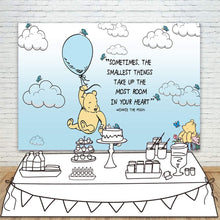 Blue and Yellow 5x7 Feet Classic Winnie the Pooh Baby Shower & 1st Birthday Backdrop