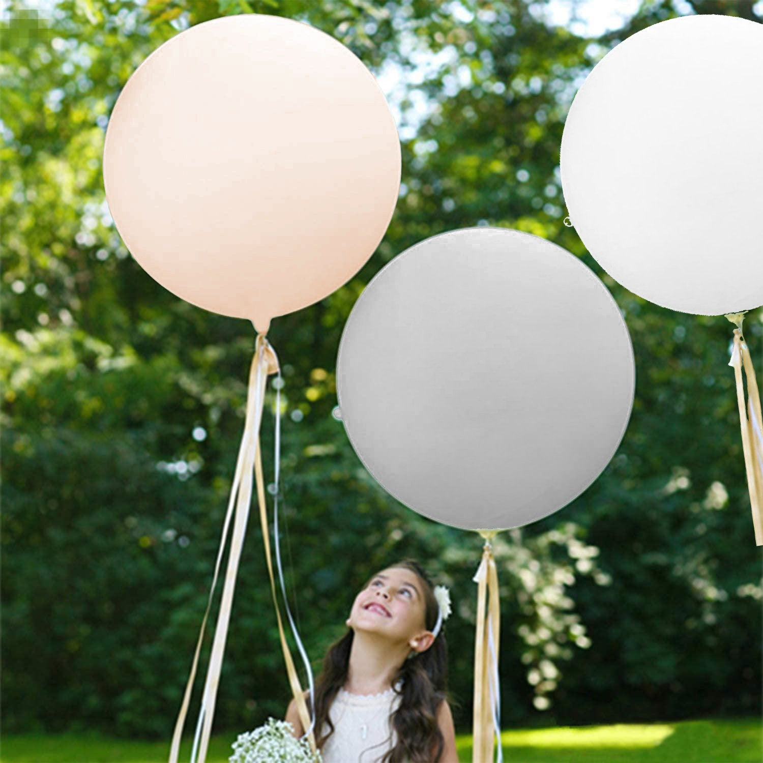 "Gray, White or Blush 36"" (3 foot) Giant Neutral Balloons"
