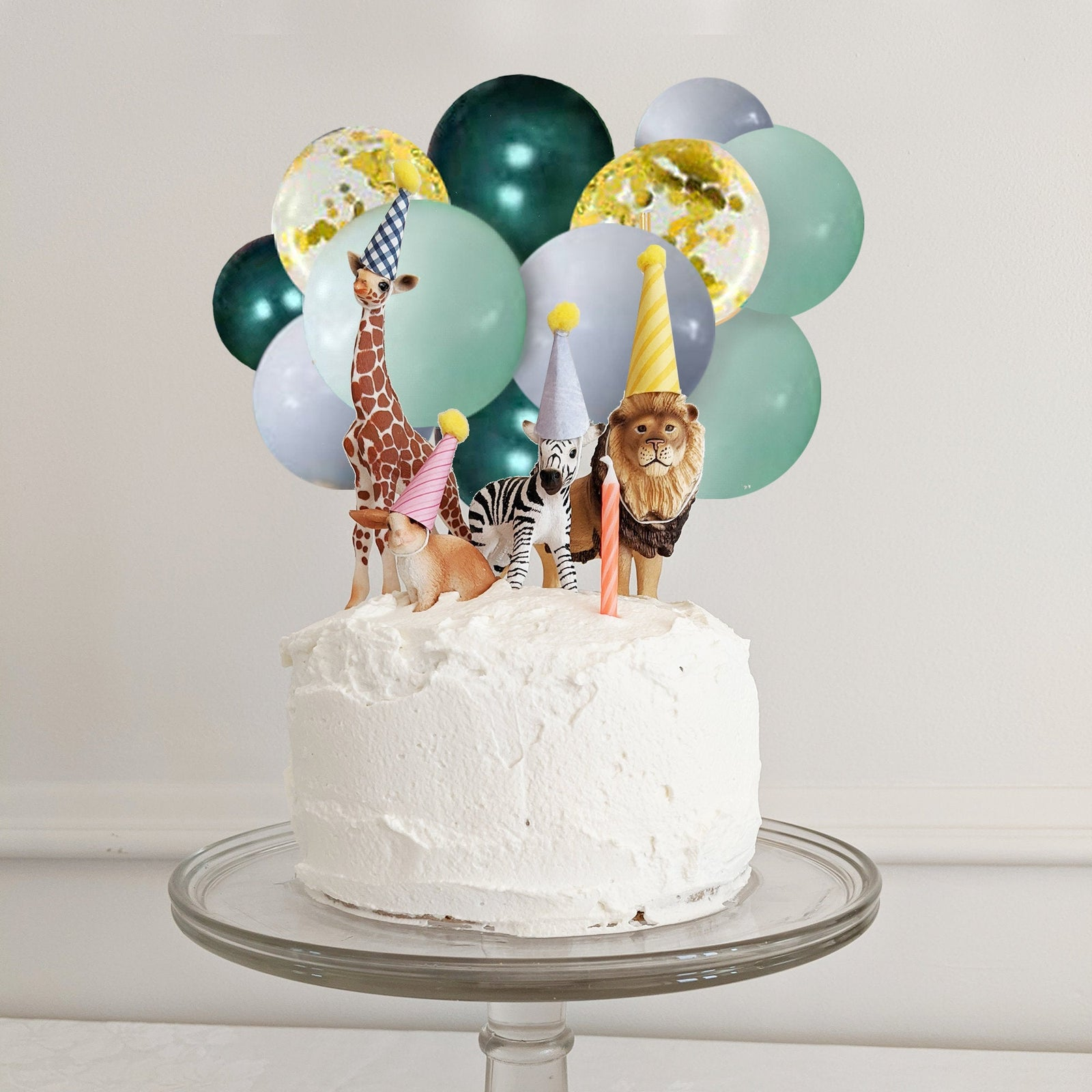 Green and Gold Wild One Confetti Mini Balloon Cake