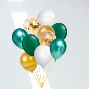 Green and Gold 10-Pack Jungle Party Dinosaur Safari Confetti Balloon Bouquet