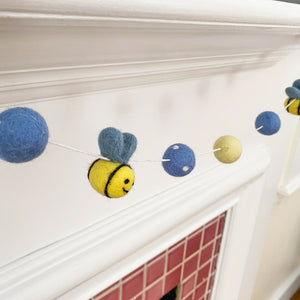 Classic Pooh Bear Honey Bee Blue Felt Ball Garland