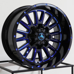 American Off-Road Wheels A105 Black Milled Blue
