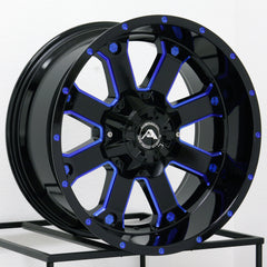 American Off-Road Wheels A108 Black Milled Blue