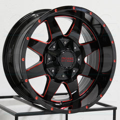 Insane Wheels IO-04 Gloss Black Red Milled