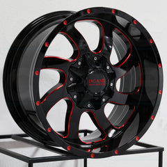 Insane Wheels IO-05 Gloss Black Red Milled