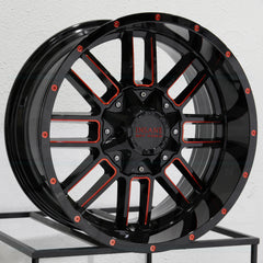 Insane Wheels IO-07 Gloss Black Red Milled
