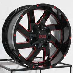 Insane Wheels IO-12 Gloss Black Red Milled