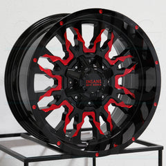 Insane Wheels IO-14 Gloss Black Red Milled