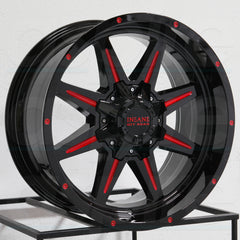 Insane Wheels IO-15 Gloss Black Red Milled
