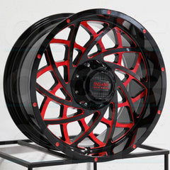 Insane Wheels IO-18 Gloss Black Red Milled