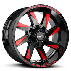 Off-Road Monster Wheels M80 Black Milled Red