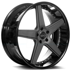 Azad Wheels AZ008 Matte Black Gloss Black Lip