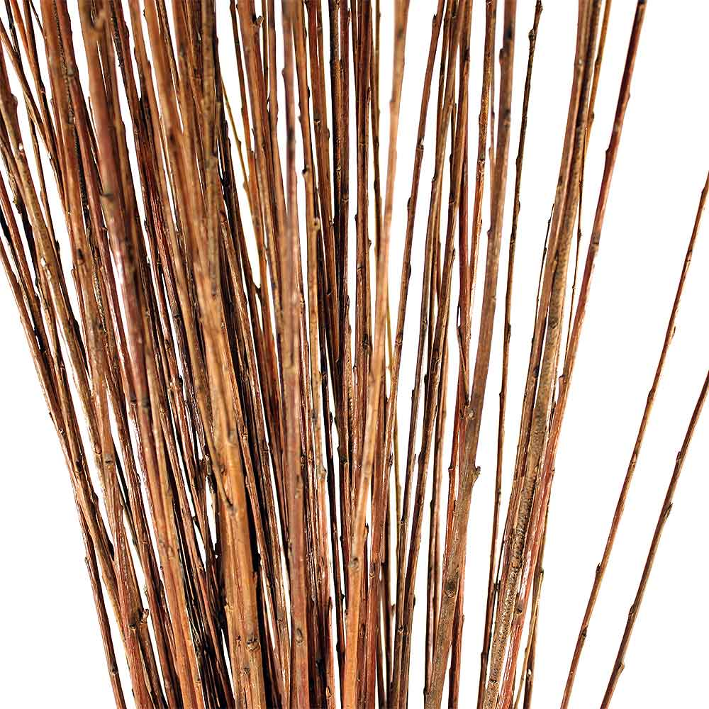 A close up of our buff willow sticks (withies).