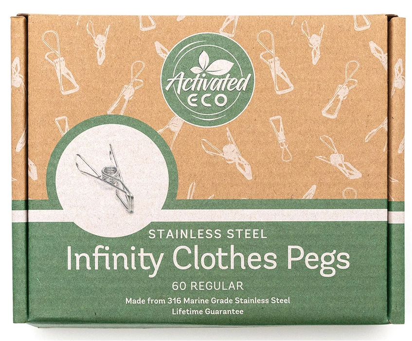 ACTIVATED ECO Stainless Steel Infinity Clothes Pegs 60 Pack