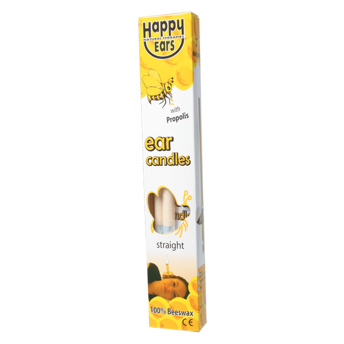 HAPPY EARS Ear Candles 100% Beeswax - Straight 2 pack