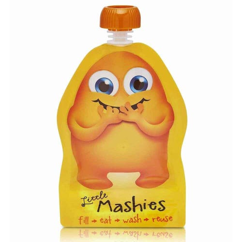 LITTLE MASHIES Reusable Squeeze Pouch Pack of 2 - Orange