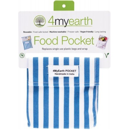 4MYEARTH Food Pocket Denim Stripe 14x14cm