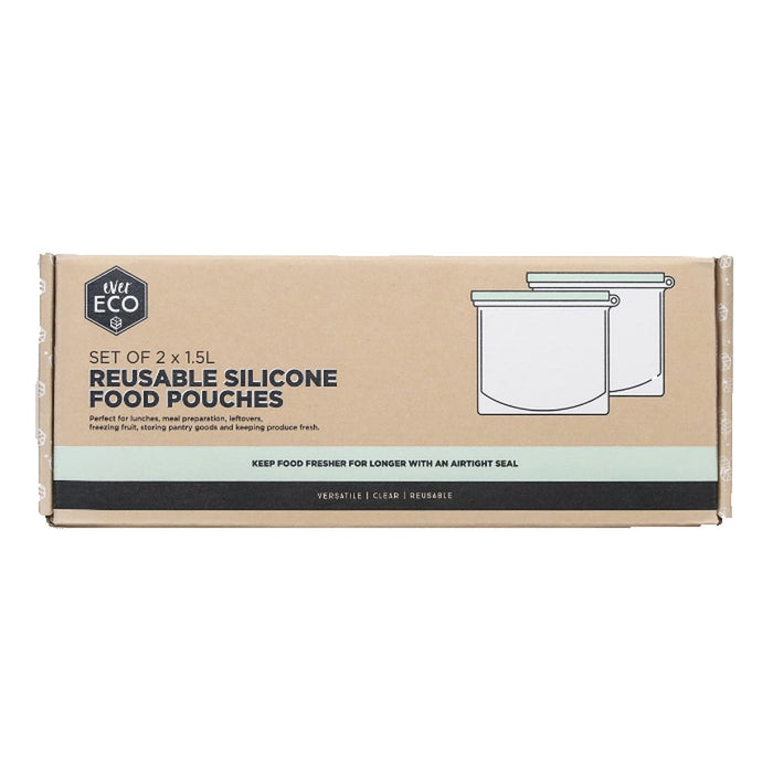 EVER ECO Reusable Silicone Food Pouches - 2 x One Litre Pouches
