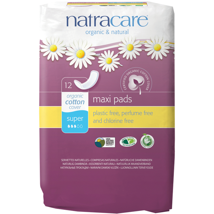 NATRACARE Maxi Pads Sup 12 pads