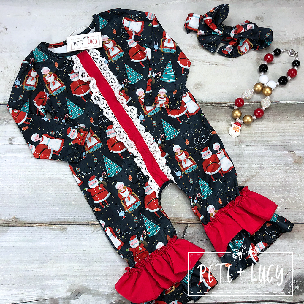 Claus Family Ruffle Romper