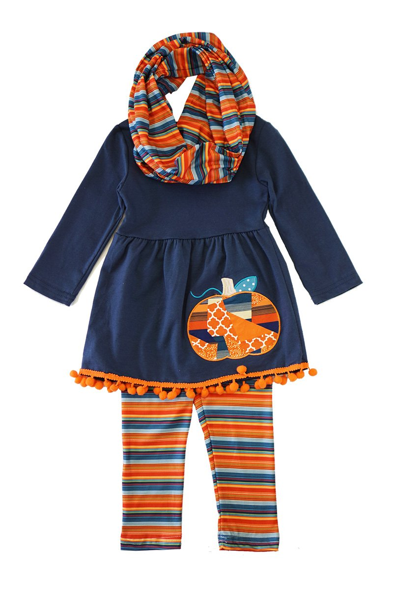 Navy Patchwork Pumpkin Scarf/Pant Set