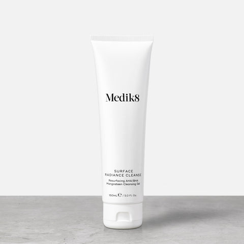 Surface Radiance Cleanse™ by Medik8. A Resurfacing AHA/BHA Mangosteen Cleansing Gel.