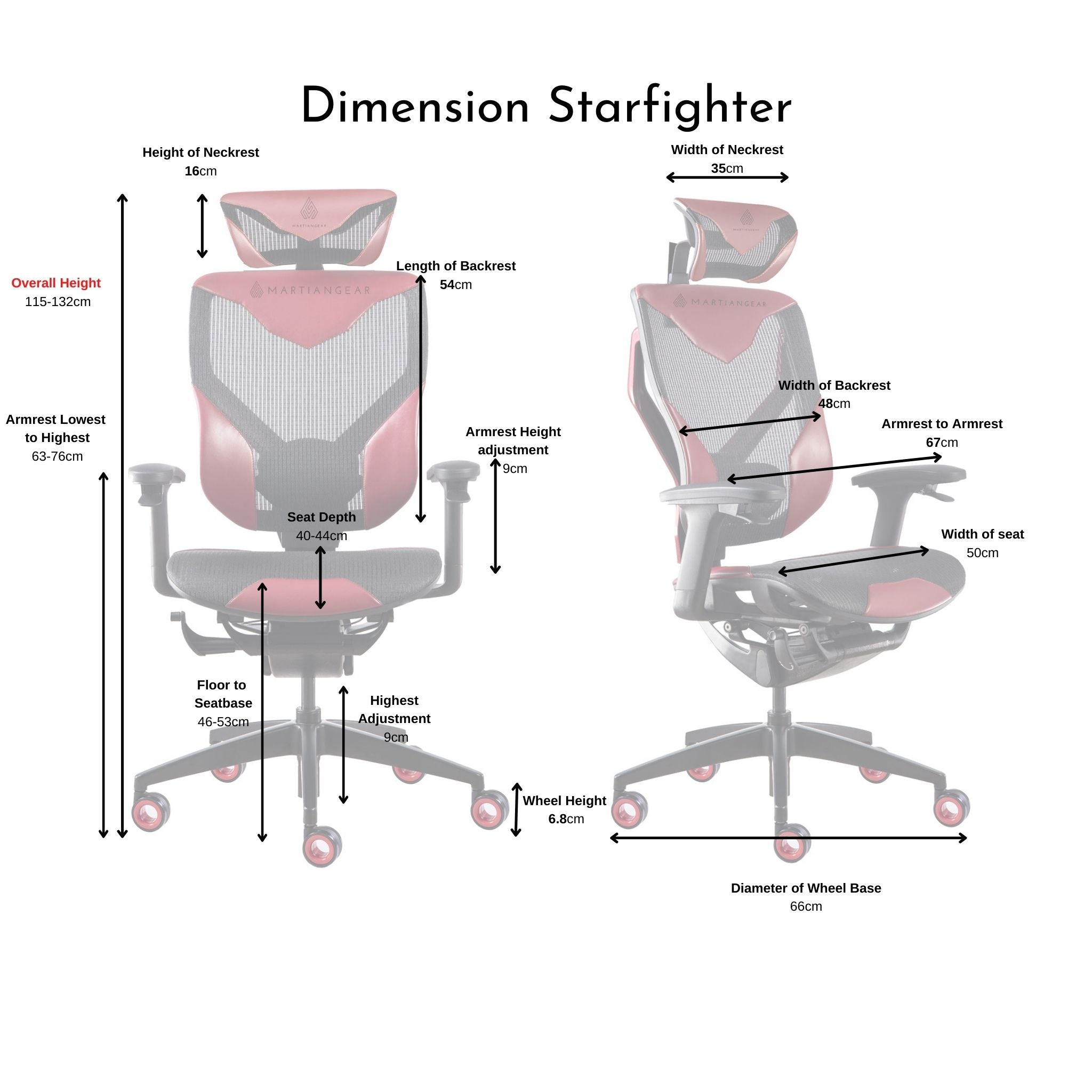 Starfighter - Black/Red (Mesh/Vegan Leather)