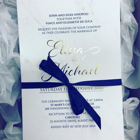 1U.  Elissa & Michael - Foil Print Invitation